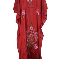 Indian Crewel Embroidered Red Caftan Maxi Dress with Kimono Sleeves