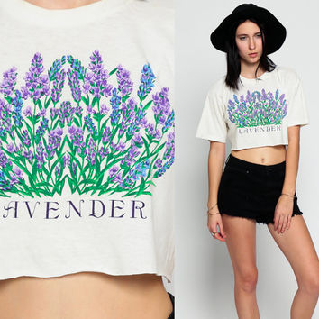 Floral Tshirt LAVENDER Shirt 80s Cropped Shirt T Crop Top Vintage Print Graphic T shirt Paper Thin Burnout 1980s Retro Extra Small Medium xs