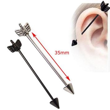 ONETOW 1 Piece Black Silver Arrow Love16G 35mm Long Industrial Straight Barbell  316L Stainless Steel Body Ear Piercing Jewelry