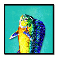 Dorado Fish Head Art Aqua Canvas Print Picture Frame Wall Home Decor Nautical Fishing Gifts