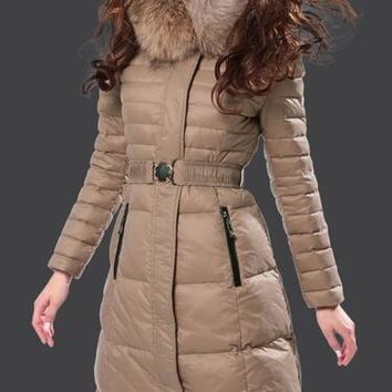 Moncler Fur Hooded Long Down Coat Womens Luxury Outerwear 8815 Camel