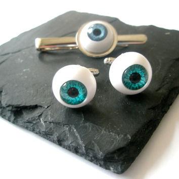 Blue EyeBall cufflinks Steampunk Gothic jewellery Halloween alternative wedding accessories gift for best man geek wear