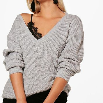 Plus Shelly V Neck Slouchy Jumper | Boohoo