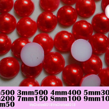 2 - 10 mm  014 Red Flatback Round Beads Half Acrylic Faux Pearl ABS For Kawaii Cabochon Deco DIY Craft Deco DIY Phone Case Deco