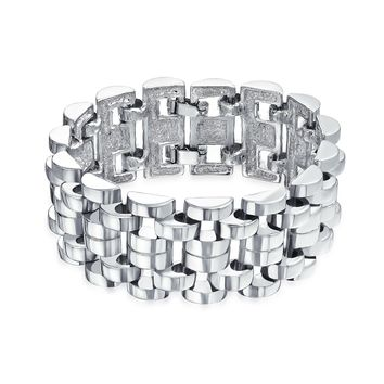 Fashion Panther Curb Chain Link Wide Bracelet Heavy Silver Plated