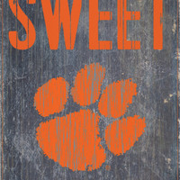 """Clemson Tigers Wood Sign - Home Sweet Home 6""""x12"""""""