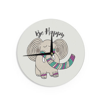 """Pom Graphic Design """"Be Happy"""" Tan Typography Wall Clock"""