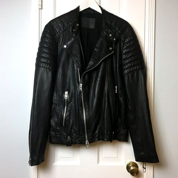 All Saints men's black leather motorcycle jacket sz L