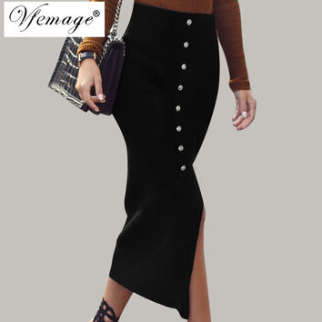 Vfemage Womens Front Slit Button Fashion Chic Vintage High Waist Wear To Work Casual Party Pencil Mid-Calf Midi Skirt 4253
