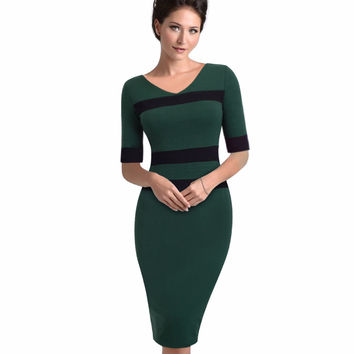 Womens Elegant Patchwork Work Office Business Sheath Pencil Bodycon Dress Casual Back Zipper Contrac