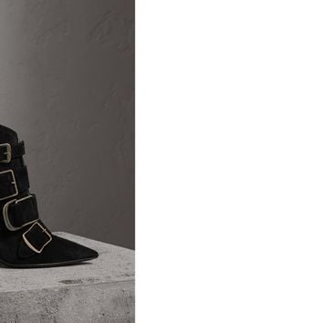 Buckle Detail Suede Ankle Boots in Black - Women | Burberry United States