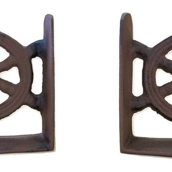 Heavy Nautical Ships Wheel Bookends Cast Iron Vintage Look