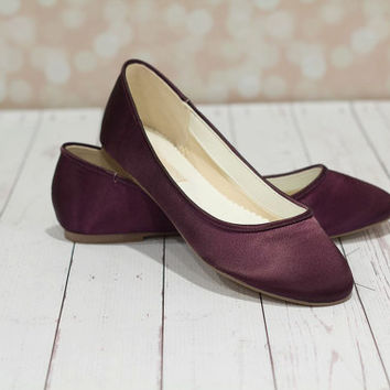 Eggplant Wedding Shoes - Shoes - Wedding Shoes - Purple Wedding Shoes -  Aubergine Flats Purple 15c1aceba8b4