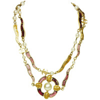 Chanel Gold and Purple Gripoix and Faux Pearl 46 Inch Long Necklace