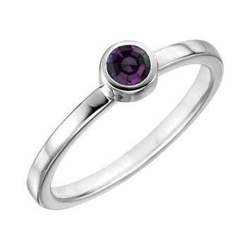 Sterling Silver Birthstone Bezel Ring