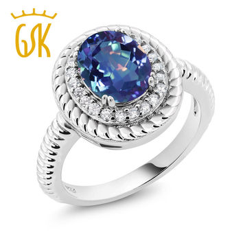 engagement rings fashion Boutique 1.80Ct Oval Millennium Blue Mystic Quartz 925 Sterling Silver  cubic zirconia wedding day