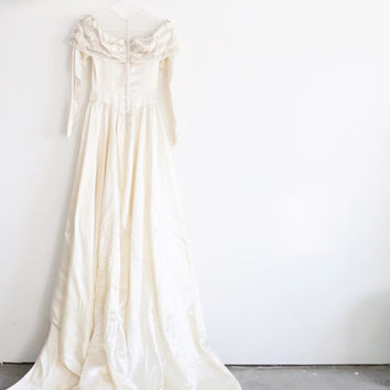 1940 beaded satin wedding gown . regal bridal sheer illusion dress .medium .sale