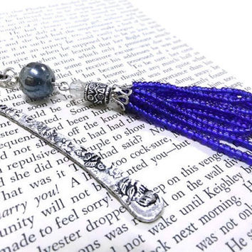 Blue Beaded Bookmark, Beaded Tassle Bookmark, Silver Bookmark, Blue Bookmark, Metal Bookmark,Student Gift, Teachers Gift, Readers,Booklovers