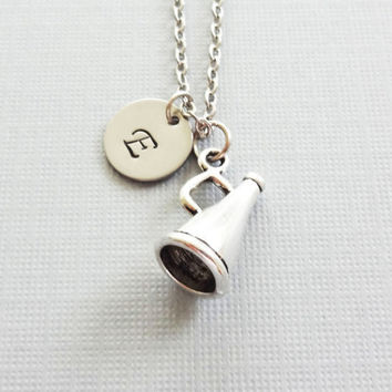 Megaphone Necklace, Cheerleader Necklace, Cheer Gift, Pep Squad, BFF, Friend Gift,Silver Initial,Personalized, Monogram,Hand Stamped Letter
