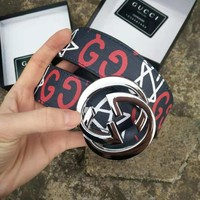 GUCCI Fashionable Man Women Smooth Buckle Belt Five-Pointed Star Print Leather Belt Blue I/A