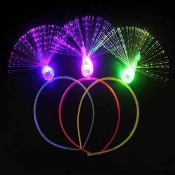 DCCKH6B 2017 Flashing Headband Light Optical Fiber Peacock Head Hoop For Girls Dress Up Decor Halloween Costume Glow Party Supplies