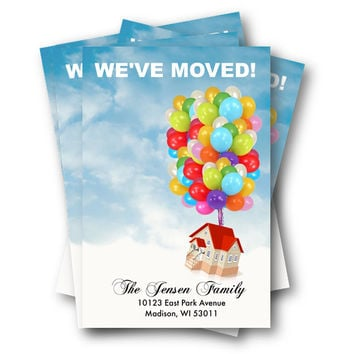 Moving Announcement - up balloons with house DIY editable we have moved postcard printable moving - We moved - we've Moved address change