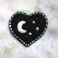 NIGHT SKY Felt Heart Patch
