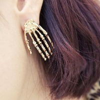 Claw Skeleton Hand Earrings (Gold) from LittleByLittle
