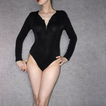 Black body 80s bodysuit slightly transparent seethrough leotard Spandex Aerobics High cut leotard black one piece
