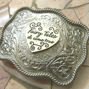 Fairy Tales Do Come True Silver Heart Western Belt Buckle, Fairytale Wedding, Pageant OOC, Disney Princess Belt #fairytale  #buckle