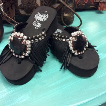 Rustic Rose Black Fringe Cross Flip Flops