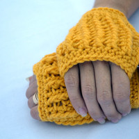 Mustard short ribbed hand warmers, fingerless gloves, mittens