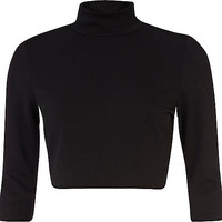River Island Womens Black turtle neck crop top