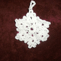 handmade crocheted Snow Flake Ornament by CanadianCraftCritter