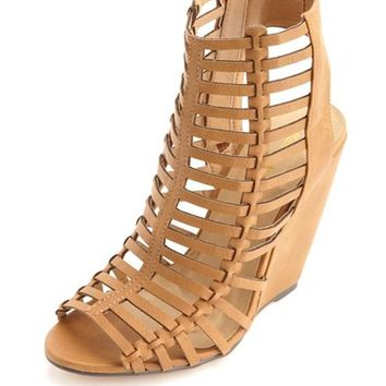 CAGED LASER-CUT PEEP TOE WEDGES