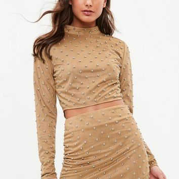 Missguided - Tan High Neck Stud Suedette Crop Top
