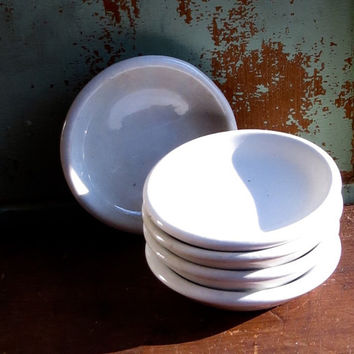 Antique Ironstone Butter Pats, Set of Five, Serving Dishes, Meakin England, Round, White Iron Stone, Country Cottage Decor