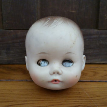 Vintage Rubber Madame Alexander Doll Head With Sleep Eyes Great Creepy Decor