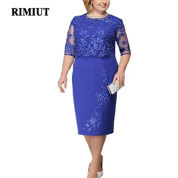 Rimiut 5XL 6XL Women Summer Autumn Big Size Dress Elegant Lace Dress Female Large Size Evening Party Dresses vestido Plus size