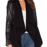 Black Sleeve Contrast Waterfall Front Knit Biker Jacket