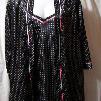 Black Satin, Pink Polka Dot, Robe Sexy Night Gown Set, Short, Size M Medium, Bridal Honeymoon, Morgan Taylor