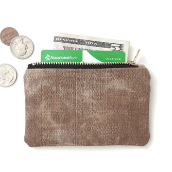 Wallet Coin Purse Zipper Pouch Recycled Distressed Canvas