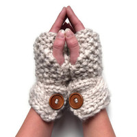 Chunky Cream Gloves - moss stitch fingerless gloves - Winter knit - soft & warm accessory - made to order