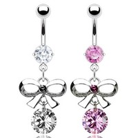 "{Clear} 316L Steel Prong Navel Belly Button Ring w/ Bow Tie and CZ Dangle - 14 GA 3/8"" Long (Sold Ind.)"