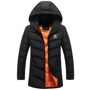 ADIDAS Clover 2018 autumn new trend sports hooded warm cotton clothing Black