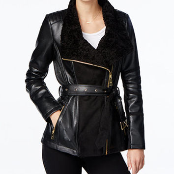 GUESS Faux-Fur-Collar Faux-Leather Jacket | macys.com