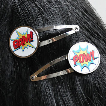 Comic Book POW BAM Hair Clips Hair Barrette Set Funny Superhero Fighting Graphic