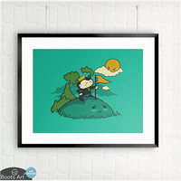 King of the Hill - matted art print. 5x7 or 8x10. Cute nursery or kids room wall art.
