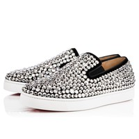 Best Online Sale Christian Louboutin Cl Roxxxy Navy Man Flat Version Black Strass Sneakers 3171137cm47