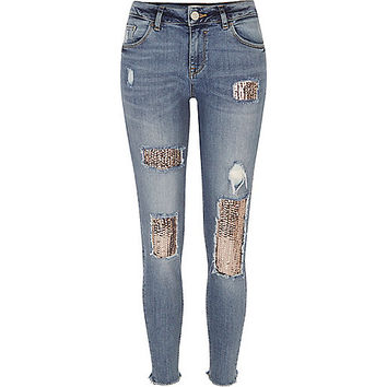 Mid wash sequin Alannah relaxed skinny jeans - skinny jeans - jeans - women